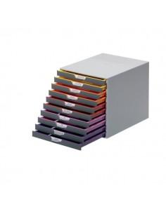 Cassettiere da scrivania Varicolor® Durable - grigio e multicolore - 10 cassetti - 2,5 cm - 7610-27