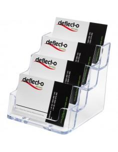 Portabiglietti da visita da tavolo Deflecto - 4 scomparti - 10x11x9,5 cm - trasparente - 70841