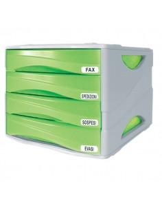 Cassettiera Smile Arda - verde traslucido - 4 cassetti - 5 cm - TR15P4PV