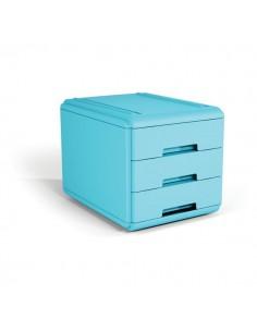 Mini cassettiera Arda - 17,7x25,4x17 cm - azzurro - 3 cassetti - 19P3PBL