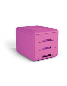 Mini cassettiera Arda - 17,7x25,4x17 cm - fucsia - 3 cassetti - 19P3PFU