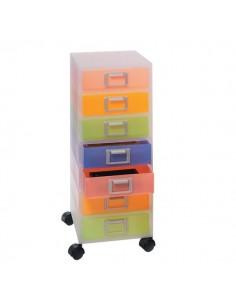 Cassettiera Jolly Niji - Con ruote - multicolor semitrasparente - 7 cassetti - h.tot.65 cm - 3115