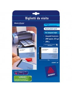 Biglietti da visita Quick&Clean™Avery -Laser-fronte-retro-bianco satin-220g/mq- C32016-25 (conf.250)
