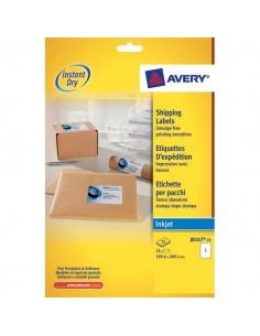 Etichette bianche QuickDry per indirizzi Avery - 199,6x289,1 mm - 1 et/ff - J8167-25 (conf.25)