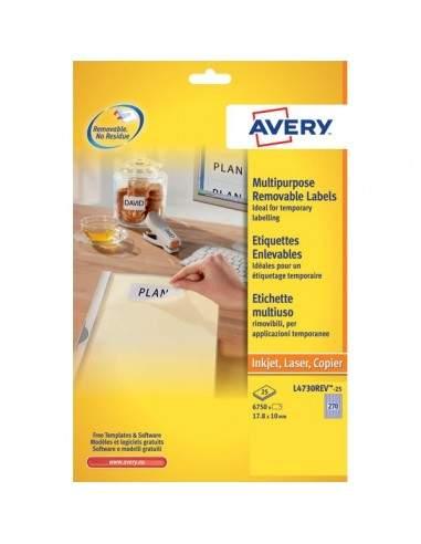 Etichette rimovibili Avery - 99,1x42,3 mm - 12 - L4743REV-25 (conf.25)