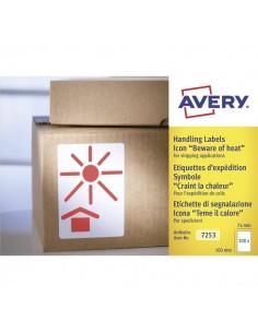 """Etichette in rotolo per spedizioni Avery - """"Teme il calore"""" - 74x100mm - 200 - 7253"""