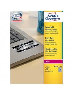 Etichette in poliestere Avery - laser - argento - 63,5x29,6 mm - 27 - arrotondati - L6011-100 (conf.100)