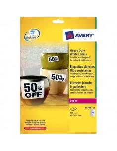 Etichette poliestere bianco Laser Avery - 63,5x33,9mm - 24 - L4773-20 (conf.20)