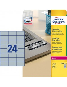 Etichette in poliestere Avery - laser - argento - 70x37 mm - et/ff 24 - L6133-20 (conf.20)