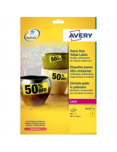 Etichette in poliestere Avery - laser - gialle - 99,1x139 cm - 4 - L6127-20 (conf.20)