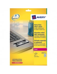 Etichette poliestere argento Laser Avery - argento - 210x297 mm - 1 - L6013-20 (conf.20)