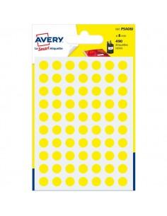 Etichette rotonde in bustina Avery - giallo - diam. 8 mm - 70 - PSA08J (conf.7)