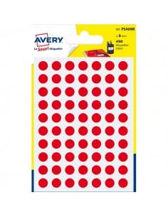Etichette rotonde in bustina Avery - rosso - diam. 8 mm - 70 - PSA08R (conf.7)