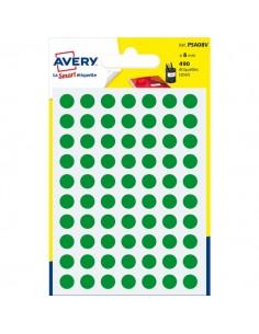 Etichette rotonde in bustina Avery - verde - diam. 8 mm - 70 - PSA08V (conf.7)