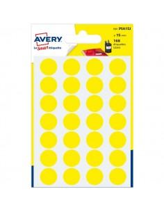 Etichette rotonde in bustina Avery - giallo - diam. 15 mm - 24 - PSA15J (conf.7)