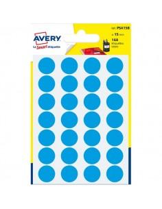 Etichette rotonde in bustina Avery - blu - diam. 15 mm - 24 - PSA15B (conf.7)