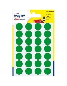 Etichette rotonde in bustina Avery - verde - diam. 15 mm - 24 - PSA15V (conf.7)