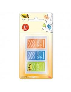 Segnapagina Post-it® Index 680 Firma - arancione, blu, lime - 682-SH-OBLEU (conf.3)
