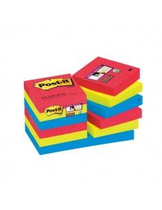 Post-it® Super Sticky colori Bora Bora- 51x51 mm - rosso verde blu - 622-12SS- 676594 (conf.12)