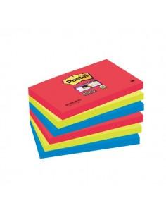 Post-it® Super Sticky colori Bora Bora- 76x127 mm - rosso verde acqua - 655-6SS-JP (conf.6)