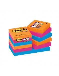 Post-it® Super Sticky colori Bangkok - 51x51 mm - fluo: arancio, rosa, azzurro - 622-12SS-EG (conf.12)