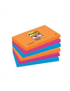 Post-it® Super Sticky colori Bangkok - 76x127 mm - fluo: arancio, rosa, azzurro - 655-6SS-EG (conf.6)