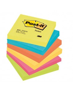Post-it® Note Energy - tinta unita - 100 - 76x76 mm - neon arcobaleno - 654-TFEN (conf.6)
