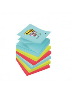 Ricariche foglietti Post-it® Super Sticky Z-Notes - 76x76 mm - : acqua , verde , rosso - R330-6SS-MIA (conf.6)