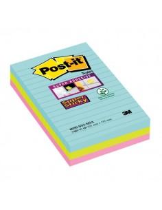 Foglietti Post-it® Super Sticky Formato XXL a righe - 101x152 mm - acqua , verde , rosa - 4690-SS3-MIA (conf.3)