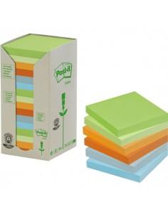 Post-it® Note in carta riciclata giallo - assortiti pastello - 76x76 mm - 654-1RPT (conf.16)