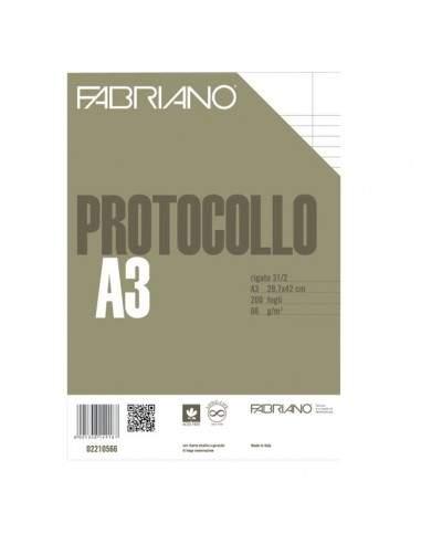Fogli protocollo Fabriano - standard - rigato a 31 - 2 margini - 66 g/mq - 02210566 (conf.200)