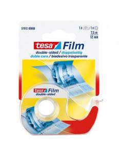 Nastro biadesivo trasparente tesafilm Tesa - Chiocciola con lama in metallo - 12 mm x 7,5 m - 57912