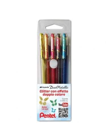 Penna gel Hybrid Dual Metallic Pentel – 1 mm – assortiti – 0022064 (conf.5)