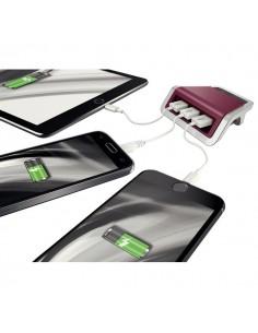 Caricatore USB linea Style Leitz - USB 3 porte - rosso - 62070028