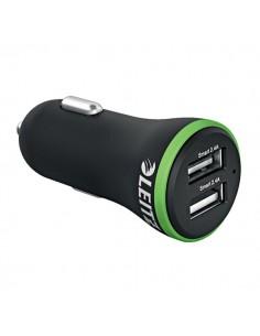 Carica batterie da auto 2 USB 24W Leitz - nero - 63490095