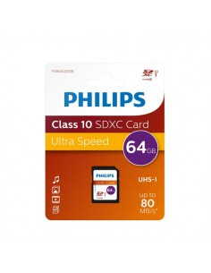 Flash Memory Card Philips - 64GB - SDXC Class 10 - PHSD64GBXCCL10