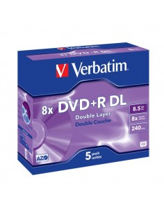 DVD Verbatim - DVD+R - 8,5 Gb - 8x - DL - Jewel case - 43541 (conf.5)