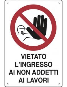 Cartello segnaletico in polionda Pubblicentro- 60x40 - vietato l'ingresso ai non addetti ai lavori - 16302710POB0600X0400