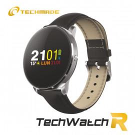Techmade Smartwatch Cassa Silver E Cinturino Pelle Nera