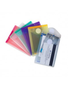 Set 6 Buste Pp Con Velcro F.To Verticali 8X11.5Cm Colori Assortiti - B510219