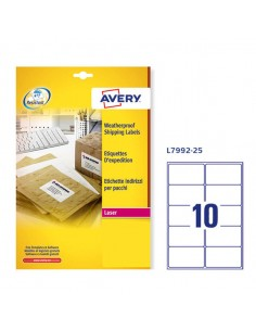Poliestere Adesivo L7992 Bianco Imperm 25Fg A4 99,1X57Mm (10Et/Fg) Laser Avery - L7992-25