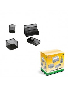 Set Scrivania 4 Accessori In Rete Metallica Nero 1424 Lebez - 1424-N