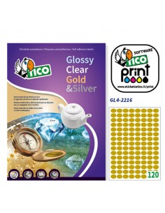 Etichetta Adesiva Gl4 Ovale Oro Satinata 100Fg A4 22X16Mm (120Et/Fg) Tico - GL4-2216