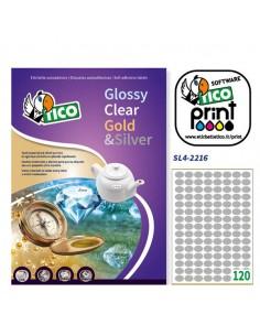 Etichetta Adesiva Sl4 Ovale Argento Satinata 100Fg A4 22X16Mm (120Et/Fg) Tico - SL4-2216