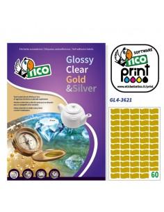 Etichetta Adesiva Gl4 Ovale Oro Satinata 100Fg A4 36X21Mm (60Et/Fg) Tico - GL4-3621