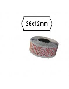 Pack 10 Rotoli 1000 Etich. 26X12Mm Onda Bianco Perm. Printex - 2612sbp10