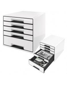 Cassettiera Drawer Cabinet Cube 5 Bianco Leitz - 52531001