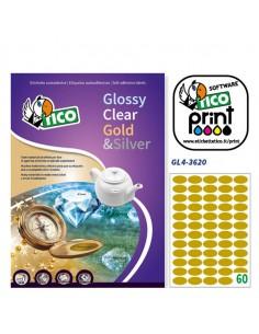 Etichetta Adesiva Gl4 Ovale Oro Satinata 100Fg A4 36X20Mm (60Et/Fg) Tico - GL4-3620
