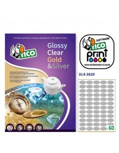 Etichetta Adesiva Sl4 Ovale Argento Satinata 100Fg A4 36X20Mm (60Et/Fg) Tico - SL4-3620