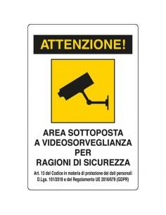 Cartelli segnaletici in alluminio Pubblicentro - area videosorvegliata- 04104310ALB0300X0200